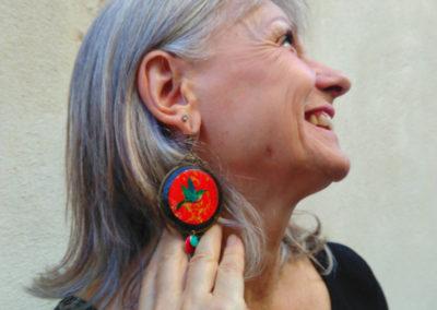 boucles d'oreilles colibris rouges fabriquées par merveilles montpellier