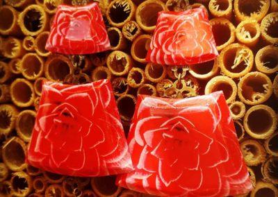 boucles d'oreilles éventail fleurs roses création merveilles