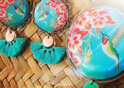 boucles d'oreilles colibri turquoises crées par merveilles