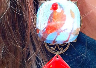 boucles d'oreilles oiseaux gobelins crées par merveilles Montpellier