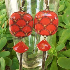 boucles d'oreilles art déco rouge artisanat boutique merveilles Montpellier