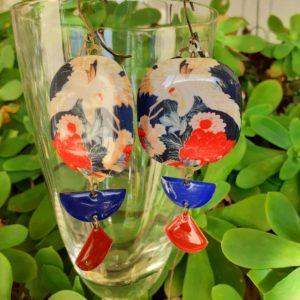 boucles d'oreilles japonisantes l'envol de la grue boutique merveilles Montpellier