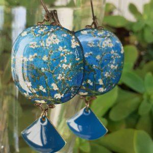 boucles d'oreilles fleurs japonaises artisanat boutique merveilles Montpellier