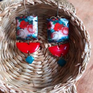 boucles d'oreilles carrées un air de russie creation de merveilles montpellier