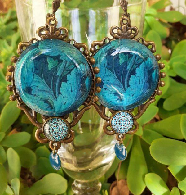 boucles d'oreilles bleues art nouveau motif acanthe merveilles montpellier