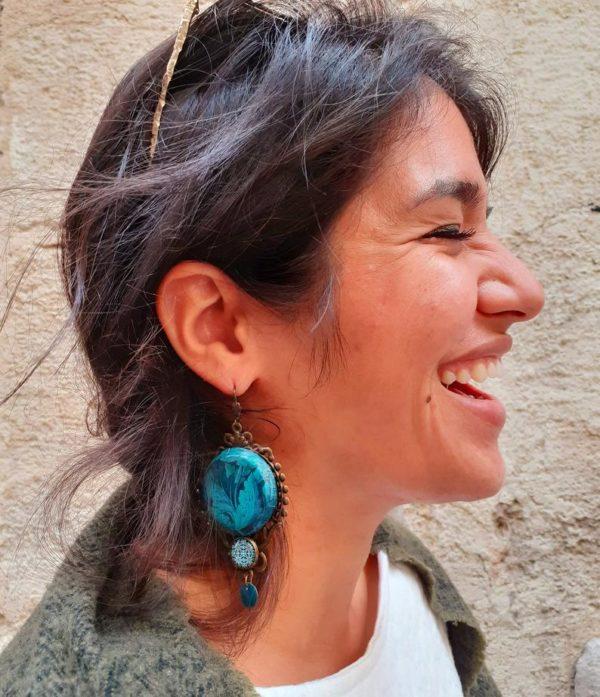 boucles d'oreilles bleues motif acanthe merveilles montpellier