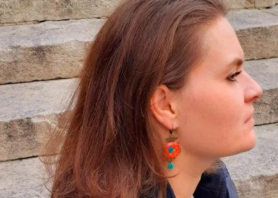 boucles d'oreilles colibris rouge fabrique main par merveilles montpellier