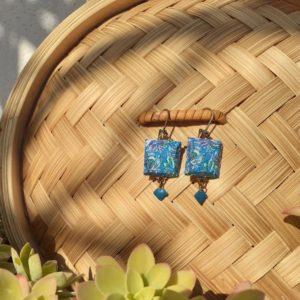 boucles d'oreilles carrées motif végétal camaieu de bleu boutique merveilles Montpellier